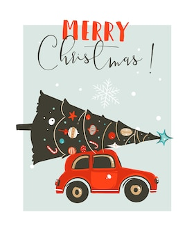 Hand drawn merry christmas time cartoon graphic illustration card design template