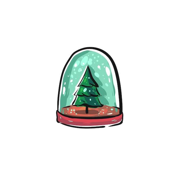 手描きのメリークリスマスの時間漫画グラフィックイラストデザイン要素を白で隔離されるクリスマスツリーとスノードームボール