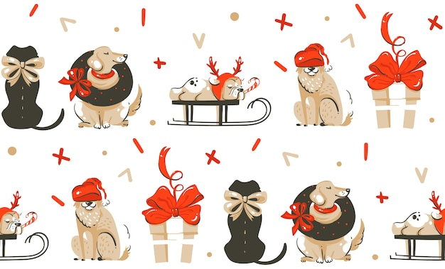 Hand drawn merry christmas time cartoon illustration seamless pattern with dogs