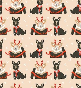 かわいい面白い犬との手描きのメリークリスマスの時間のシームレスなパターン