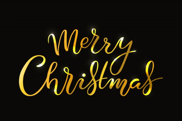 Hand drawn merry christmas typography lettering poster