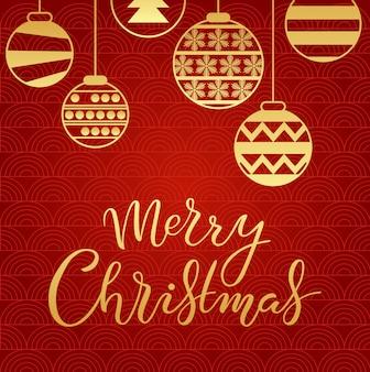 手描きのメリークリスマスのタイポグラフィレターポスター