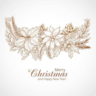 손으로 그린 메리 크리스마스 겨울 장식 카드 배경