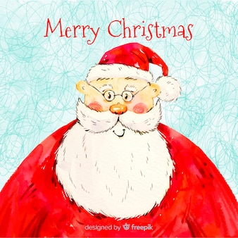 Hand drawn merry christmas wish with santa claus