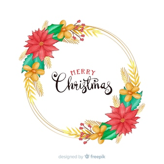 Hand drawn merry christmas with beautiful flowers