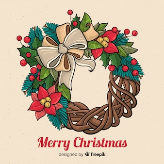 Hand drawn merry christmas wreath