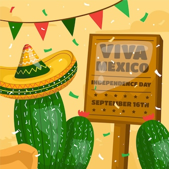 Hand drawn mexic independence day concept