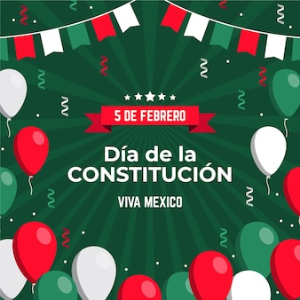 Hand drawn mexican constitution day with balloons