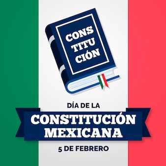 Hand drawn mexican constitution day with book illustrated