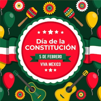 Hand drawn mexican constitution day with different elements