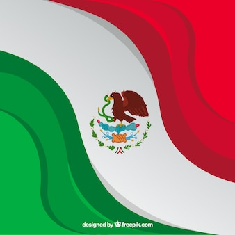 Hand drawn mexican flag background