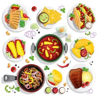Ручной обращается мексиканская коллекция еды