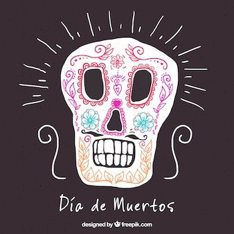 Hand drawn mexican skull background