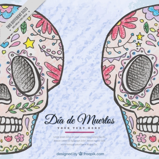 Hand-drawn mexican skulls background