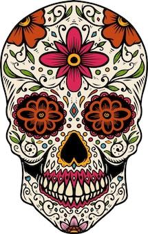 손으로 그린 멕시코 설탕 두개골 흰색 배경에 고립. 포스터, 카드, 배너, 티셔츠, 상징, 기호 디자인 요소입니다. 벡터 일러스트 레이 션