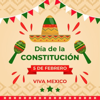 Hand drawn mexico constitution day