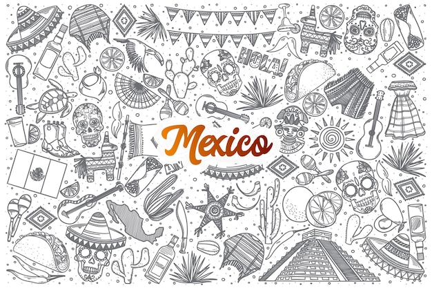 Hand drawn mexico doodle set background with orange lettering