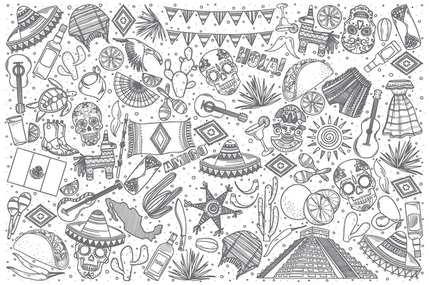 Hand drawn mexico doodle set