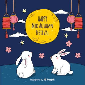 Hand drawn mid autumn festival background