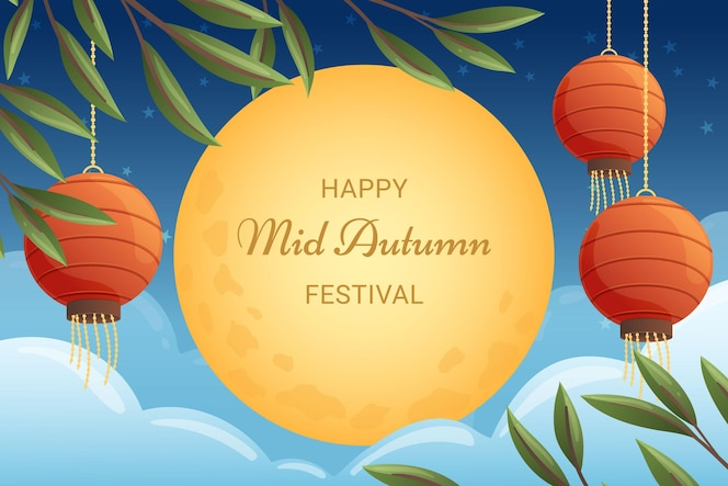 Hand drawn mid autumn festival concept