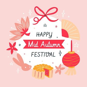 Hand drawn mid-autumn festival greeting