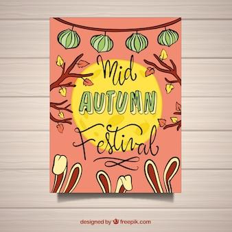 Poster a mano disegnato a metà autunno festival
