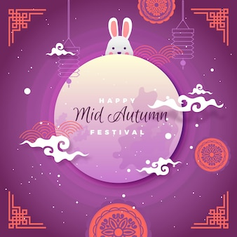 Hand drawn mid-autumn festival with moon and rabbit