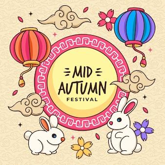 Hand drawn mid-autumn festival