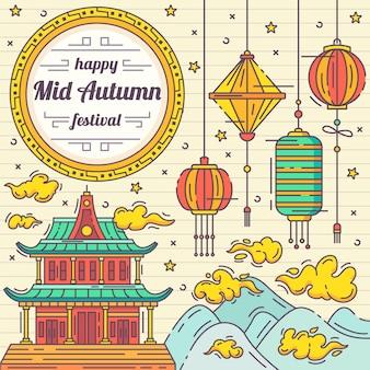 Hand drawn mid autumn festival