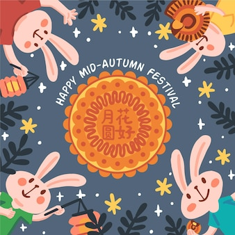 Hand drawn mid-autumn festival