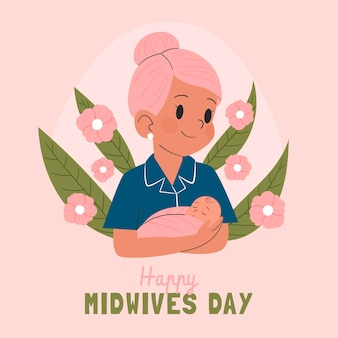 Hand drawn midwives day illustration