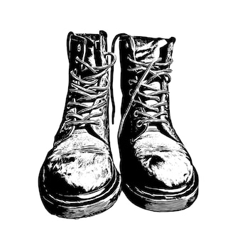 Hand drawn military boots