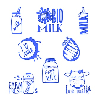Hand drawn milk labels