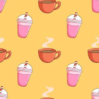 手描きのミルクセーキと一杯のコーヒーのシームレスパターン