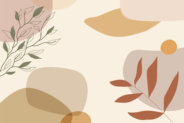 Hand drawn minimal background with leaves