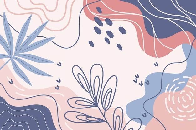Sfondo minimale disegnato a mano con piante