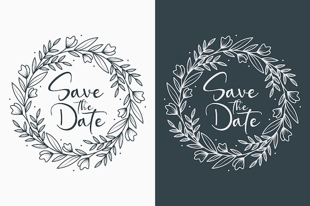 Hand drawn minimal floral wedding badges with circle style