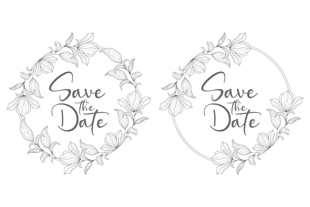 Hand drawn minimal floral wedding wreath and wedding badge frame