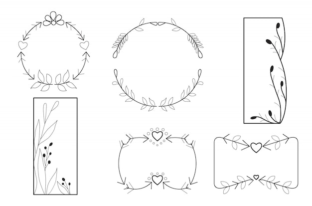 Hand drawn minimal flower frame set