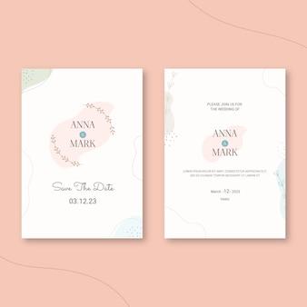 手描きの最小限の結婚式の招待状のテンプレート 無料ベクター