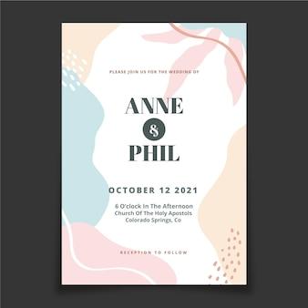 手描きの最小限の結婚式の招待状のテンプレート