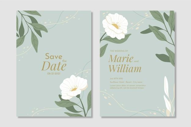 Hand drawn minimal wedding invitation template