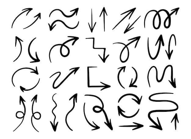 손으로 그린 미니멀한 화살표 낙서 컬렉션입니다. 그래픽 화살표를 설정합니다.