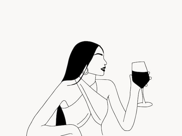 Ручной обращается минималистский штриховой рисунок с молодой женщиной, держащей бокал красного вина модный стиль