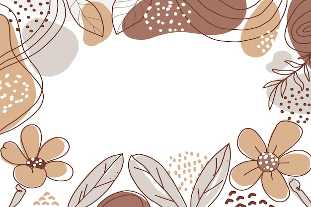 Hand drawn minimalist shape flower abstract background with color pastel