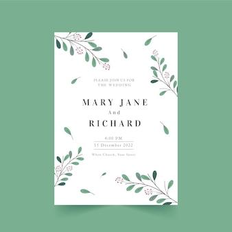 Modello di invito a nozze minimalista disegnato a mano