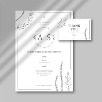 Ручной обращается минималистичный шаблон свадебного приглашения