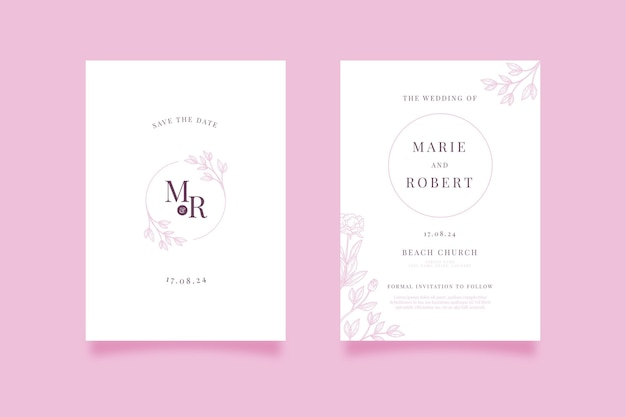 Hand drawn minimalist wedding invitation template Premium Vector