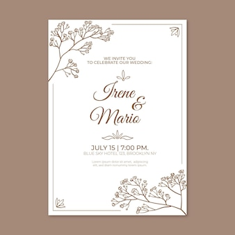Hand drawn minimalist wedding invitation template