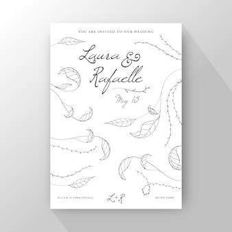 手描きのミニマリストの結婚式の招待状のテンプレート